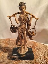 Genuine Carrara Marble Made in Italy Figurine Woman Carring Baskets