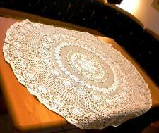 VINTAGE Shabby Landhaus Omas große Häkel-Tischdecke-Mitteldecke Weiß Rund 110cm