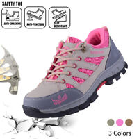 Womens Outdoor Safety Steel Toe Work Boots Breathable Hiking Climbing Shoes