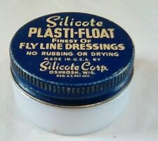 Vintage Silicote Plasti-Float Fly Line Dressing Usa Made Milk Glass Container Fs