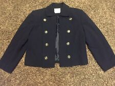 Womens Doncaster Navy Wool Jacket, Size 8, Gorgeous Buttons