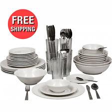 Stoneware Dinnerware Set 62 Piece Service for 6 Round Serving Kitchen Dish Cream