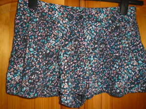 1 Black, green and peach pattern casual shorts, GEORGE, size 10