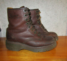 DR MARTENS Womens 7 - 7.5 Brown Leather Grunge Combat Non Slip Sole 1990s Boots