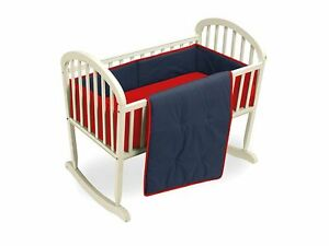 Baby Doll Bedding Reversible Cradle Bedding, Navy/Red