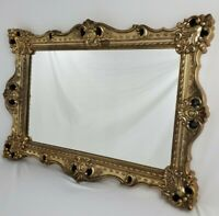 Vintage French Italian Mantle Mirror Rococo Gold Wall Hollywood Regency 39.5""