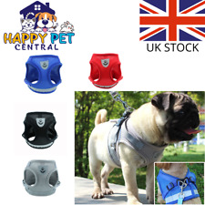 More details for pet dog adjustable harness nylon mesh fabric soft puppy reflective vest & lead
