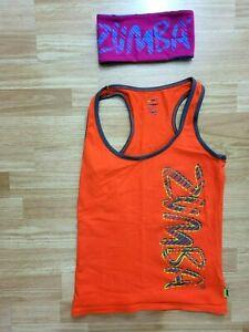 ZUMBA WEAR Ladies TANK TOP Orange Grey/Green Trim SZ M  +HEADBAND Pink/Blue