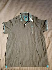 Mens Polo Shirt 2xl Xxl Old Navy Nwt fitted cotton gray white teal stripe trim
