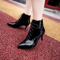 Womens Patent Leather Stiletto Lace Up Ankle Boots Pointed Toe Punk Party Shoes
