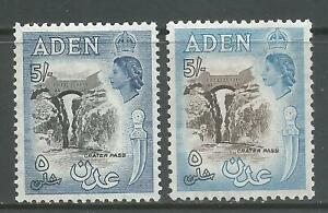 ADEN  1953 KEVI1   MVLH   5s black & deep dull blue & blue  SG68,68a    Cat.£62