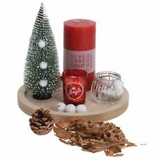 7pcs Wooden Candle Tray Tealight Holder Christmas Tree Deco Centerpiece Gift Set