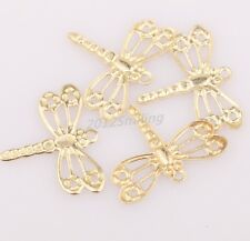 Wholesale 100pcs golden Tone dragonfly charm pendants For Jewelry Making DIY15mm