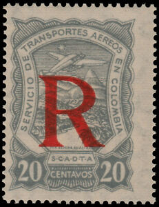 ✔️ COLOMBIA SCADTA 1923 - AIRPLANE REGISTERED - SC. CF1 ** MNH [SCDT50]