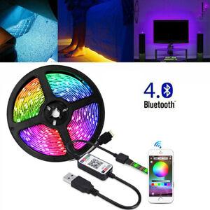 USB 3M 5M RGB LED Strip Light Music Sync Bluetooth APP Control TV PC Back Light