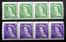 CANADA #331 & #333 MINT NH** COIL STRIPS OF 4  CAT.$26