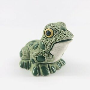 """Vintage Clay Pottery Enamel Green Frog Toad Figurine 2"""""""