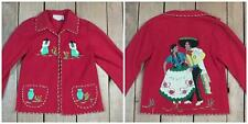 Vintage 1950s La Mexicana Red Wool Mexico Souvenir Jacket Great Detail! Sz.28