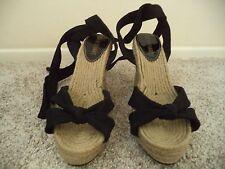 Colin Stuart Black Canvas Tie Strap & Natural Twine Wedge Heel Sandal 7.5