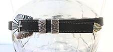VTG Silver 925 Belt 4 Pc Ranger Buckle Set Sterling Solid Etched Black Leather M