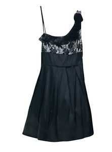 Alyn Paige Satin One Shoulder Retro Formal Cocktail Dress Black Size 5/6 NWT