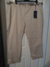 New Per Una Ladies Stone Casual Trousers With Belt Size 24