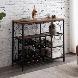 Industrial Wine Rack Table with Glass Holder and Wine Storage, Console Brown