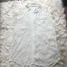 Equipment Femme NWT Cream Lace Button-Down Tank - Size Medium