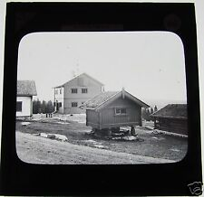 Glass Magic Lantern Slide FROGNER SCETER WOODEN VIEW TOWER C1900 NORWAY OSLO