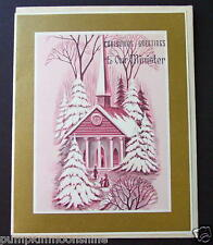 #F639- Vintage Unused Xmas Greeting Card Holiday Church Accented in Pink & Gold