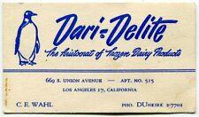 "Vintage L.A. ICE CREAM Business Card ""DARI-DELITE"" (With Penguin)"