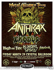 ANTHRAX /EXODUS /HIGH ON FIRE /MUNICIPAL WASTE 2013 PORTLAND CONCERT TOUR POSTER