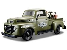 Harley Davidson, 1948 Ford F-1 Pick Up Army green, Maisto Auto Modell 1:24