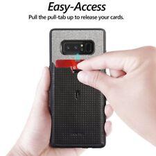 For Samsung Galaxy Note 8 Poetic Nubuck [Pull-Tab]Credit Card ID Slot Case Black