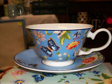 AYNSLEY BOXED NEW  Windsor Cottage Garden BLUE Teacup BNIB FROM IRELAND