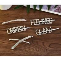 Womens Girls Crystal Hair Clips Letters Hairpin Rhinestone Barrette Slide Grips
