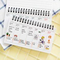 Portable Cute Calendar Schedule Coil Notebook Agenda Weekly Planner Notes 2019