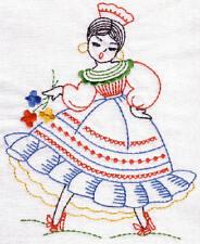 EMBROIDERED  - VINTAGE MEXICAN SENORITA -FLOUR SACK DISH TOWEL-