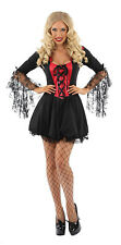 LADIES SEXY LITTLE MISS DRACULA FANCY DRESS HALLOWEEN OUTFIT COSTUME WOMENS