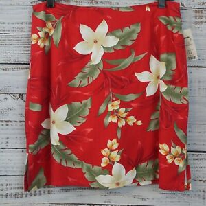 Caribbean Joe Women's Red Floral Short Wrap Skort Size 10 NWT Tropical Flaw