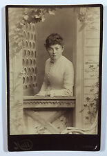 Antique Cabinet Card Photo - Woman Sitting in Window Painted Scene, Littleton