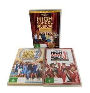 High School Musical 1 2 3 Extended  Encore Dance Edition x 3 DVD Bundle Set Lot