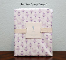 NEW Pottery Barn Kids KEIRA Swan Crown Floral Full Sheet Set LAVENDER *SOLD OUT!