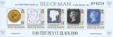 INSEL MAN - 1990 PENNY BLACK 150 JAHRE BRIEFMARKEN BLOCK 13 I MIT AUFDRUCK  **