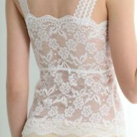 Lady Lace Mesh Vest Tank Top Camisole Spaghetti Strap Lingerie Hollow Out Floral