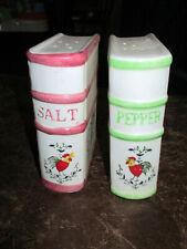 Cute Vintage Book Salt Pepper Shakers Japan Roosters & Vines 4.25in 7553 Corks