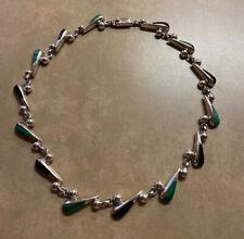 Onyx Necklace Mexico Taxco 100g Modernist 950 Sterling Silver Malachite &