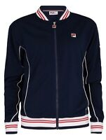 FILA Retro Mens Zip Up Baranci Track Jacket Casual Vintage Top White Blue