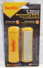 "Smiths 4"" Arkansas Sharpening Stone Hunting Fishing Knives Tools w/Base & Cover"