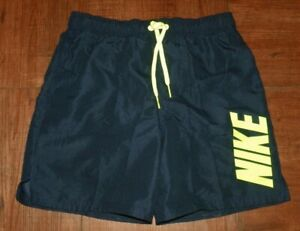 Nike Men's Linen Swimwear, Color: Navy Blue/Neon Green Letters, New